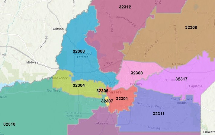 map of tallahassee zip codes